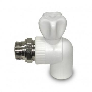 Кран радиатор. америк. 20 х 1/2 угловой PRO-AUQA белый