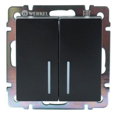Выключатель 2 клавиш.с подсветкой черн/матовая WERKEL