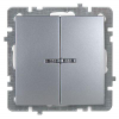 Выкл. серебро с/п 2кл. с подсв. механизм NILSON TOURAN (Thema)