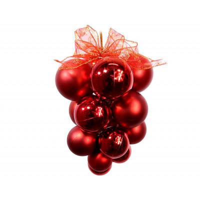 Подвеска из шаров Т035-3 Виноград сред 20см Сереб-Малин