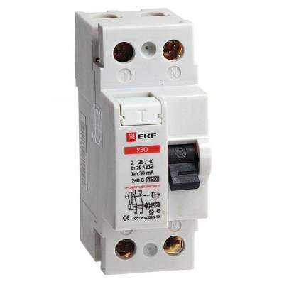 Устройство защитного отключения УЗО ВД-100 2Р 25А/30мА (электромеханическое) EKF PROxima