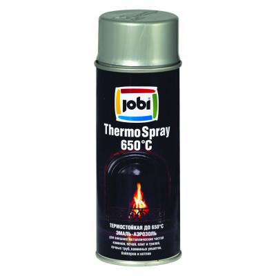 Аэрозольная эмаль термостойкая +650 JOBI серебро
