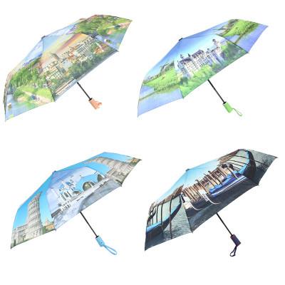 Зонт женский, полуавтомат, сплав, пластик, полиэстер, длина 55см, 8 спиц, 6 дизайнов, 3733А-1