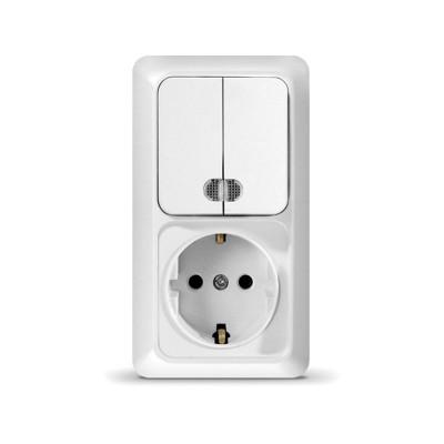 Блок Выкл. 2кл. с подсветкой + розетка с/з верт. бел ОЛИМП