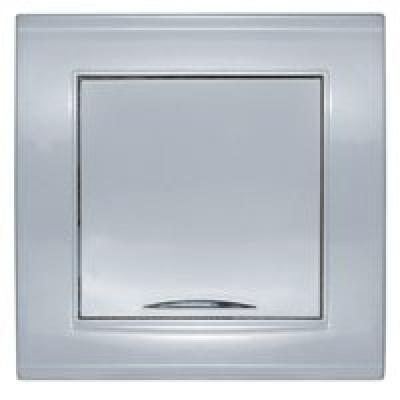 Выключатель 1кл. с подсв. серебро Бриллиант СП, 10А, 220В (7949643)