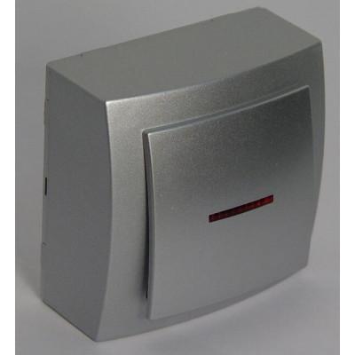 Выкл. серебро о/п 1 кл. с подсветкой NILSON THEME