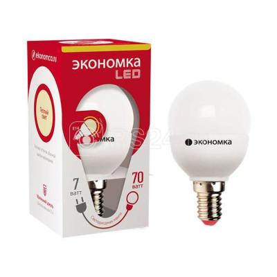 Лампа LED 7 W Е14 220В 3000К шар Экономка