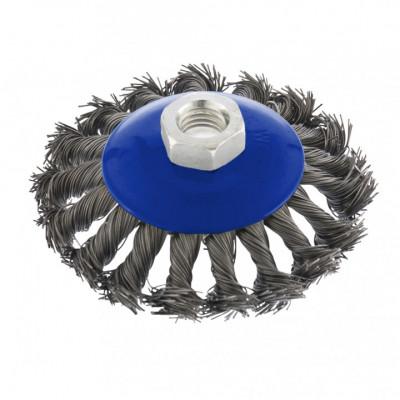 Щетка металлическая для УШМ ВАРЯГ 125мм/М14 крученная (тарелка)