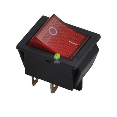 Выключатель клавишный ON-OFF, 250V, 16А (2*2с), красный с подсветкой, REXANT
