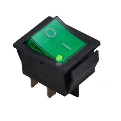 Выключатель клавишный ON-OFF, 250V, 16А (2*2с), зеленый с подсветкой, REXANT
