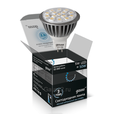Лампа Led 5W MR16 2700K АС220-240V GAUSS SMD