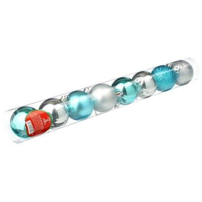 Набор шаров 8 шт, 6см, пластик, в тубе, голубой и серебряный СНОУ БУМ