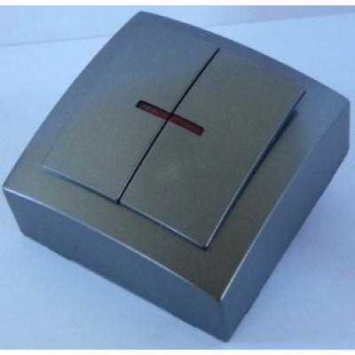 Выкл. антрацит о/п 2 кл. NILSON THEMIS с подсветкой