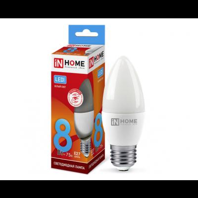 Лампа светодиодная СВЕЧА 8Вт Е27 4000К 600Лм IN HOME