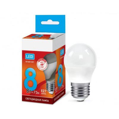 Лампа светодиодная ШАР 8Вт Е27 6500К 600Лм IN HOME