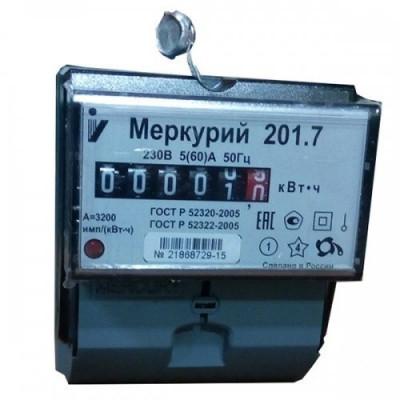 Эл. счетчик Меркурий-201.7 5-60 (60)А (одноф.кл.т.1,0,)
