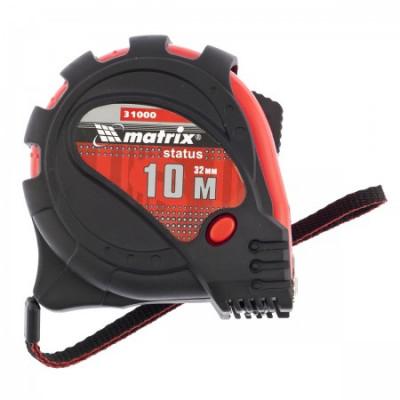 Рулетка 10 м х 32 мм Status magnet 3 fixations, обрезиненный корпус, зацеп с магнитом MATRIX