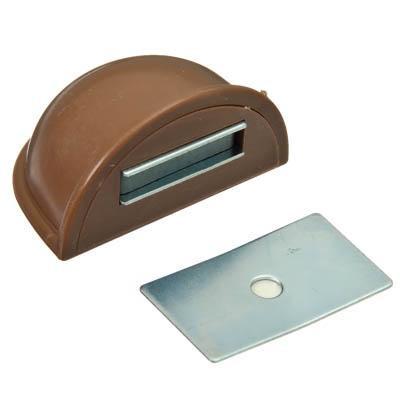 Стопор дверной, магнитный пластик, металл, 2,5x5см, коричневый