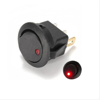 Выключатель круглый 12V круглый 16А черный с красной подсветкой