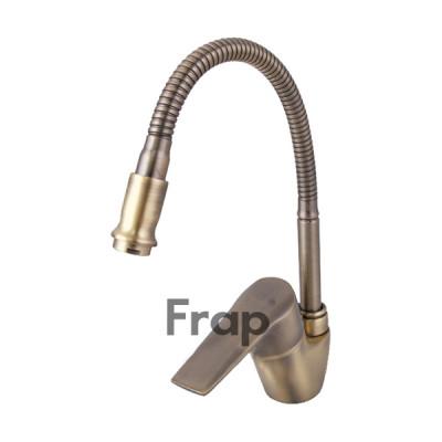Смеситель для кухни 40к 4330-4F FRAP гибкий излив, гайка, боковая, бронза