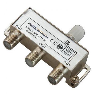 Делитель антенный  3-ой под F разъем 5-1000 МГц PROCONNECT