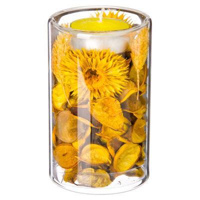 Подсвечник декоративный 9см, сухоцветы, желтый