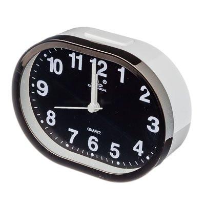Будильник электронный с подсветкой, металл, стекло, 15x11,5x5,5см, бежевый, 2хАА