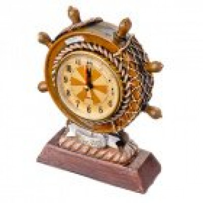 Часы настольные сувенирные в виде штурвала, полистоун, 5x12x4,5рм, 1хААА, 2 дизайна