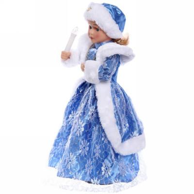 Снегурочка 25 см. СК-16 со свечой голубая шуба (муз)