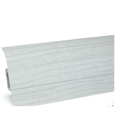 Плинтус Ясень серый с кабель каналом и мягким краем