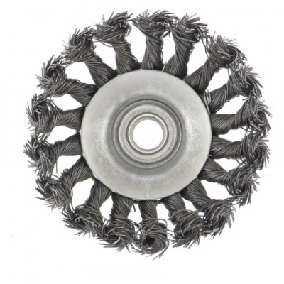 Щетка металлическая для УШМ Варяг 100мм/22мм, крученая, дисковая