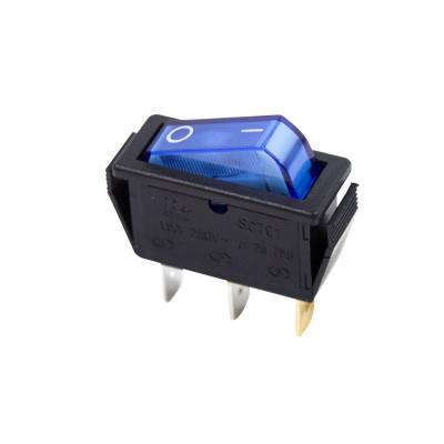 Выключатель клавишный ON-OFF, 250V, 15А (1*3с), синий с подсветкой, REXANT