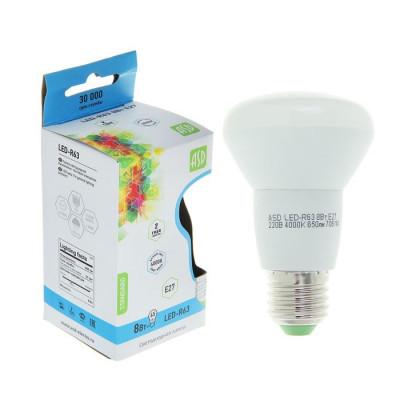 Лампа светодиодная LED-R63 8 Вт Е27 4000К 650Лм ASD