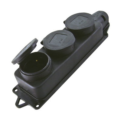 Колодка трехместная с заглушками с/з каучук 16А 250В IP44 Alfa
