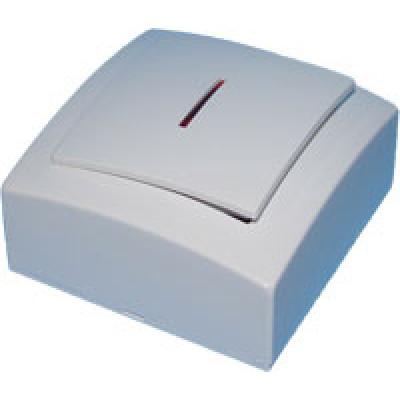 Выкл. бел. о/п 1 кл. с подсветкой NILSON THEMIS
