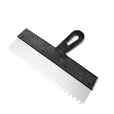Шпатель из нержавеющей стали 350 мм, зуб 8*8мм, пластмассовая ручка СИБРТЕХ