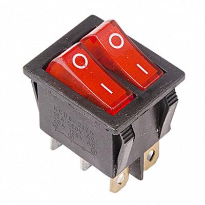 Выключатель клавишный ON-OFF (двойной), 250V, 15А (2*3с), красный с подсветкой, REXANT (10/50/1000)