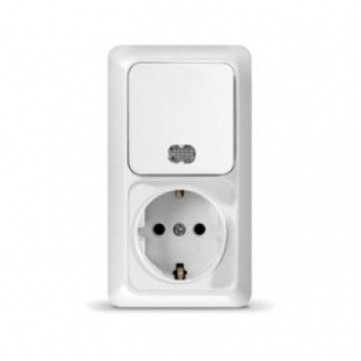 Блок Выкл. 1кл. с подсветкой + розетка с/з верт. бел ОЛИМП