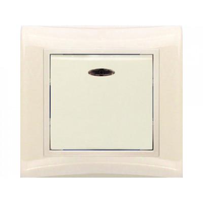 Выключатель 1-кл крем с индик. в сб. Violet V01-22-V12-S