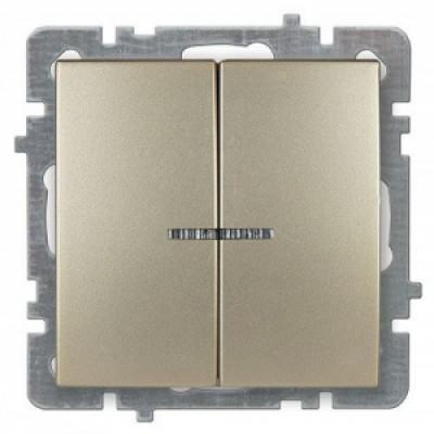 Выкл. золото с/п 2 кл.+ свет механизм NILSON TOURAN (Thema)