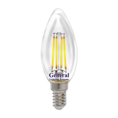 General свеча Е14 8Вт 4500К филамент прозр (