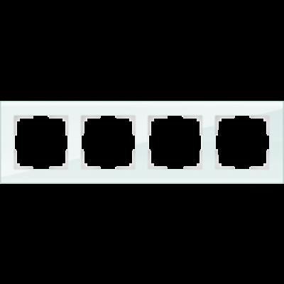 Рамка на 4 пост бел.стекло WERKEL Favorit