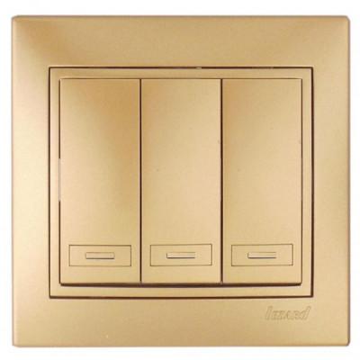 Выключатель 3-кл. с/п Мира метал/зол. Lezard 701-1313-109