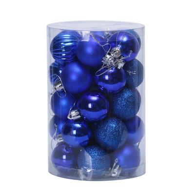 Набор елочных украшений Т561 Синий Шары 4см*16шт, 6см*20шт