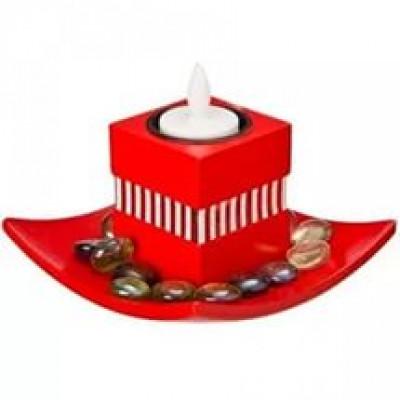 Интерьер-набор красный на 1 свечу 12x12x10см, комплект с электросвечкой, СК-432
