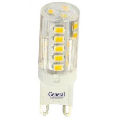 Лампа General G9 5W 4500K 50х15 пластик прозрач,