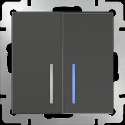 Выключатель 2 клавиш. серо-коричнев. с подсветкой  WERKEL