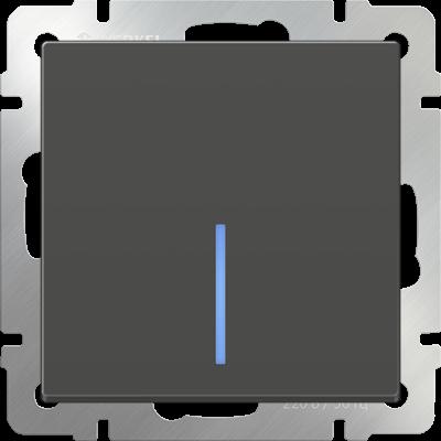 Выключатель 1 клавиш. серо-коричнев. с подсветкой  WERKEL