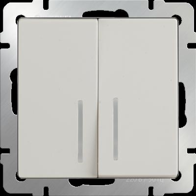 Выключатель 2 клавиш.слонов.кость с подсветкой WERKEL