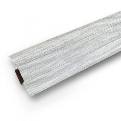 Плинтус Ясень белый с кабель каналом и мягким краем